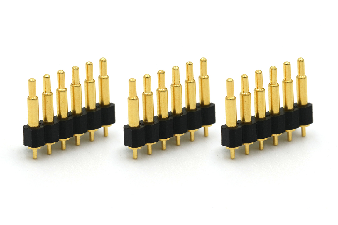 2.54mm pitch singlel row 6pin through-hole spring loaded pogo pin connector