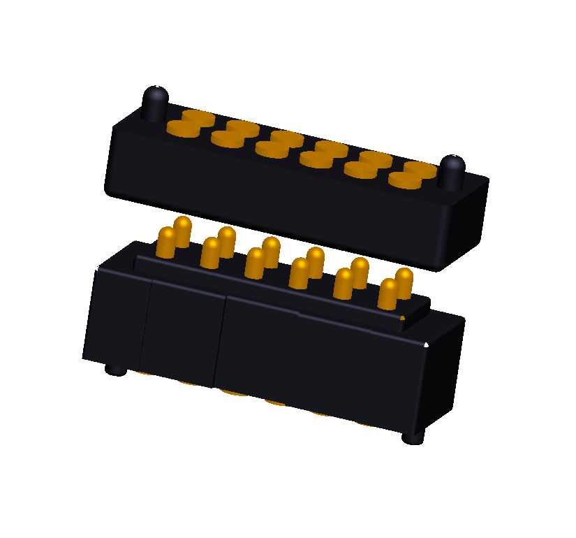 Customized double row 12pin male & female spring loaded connector