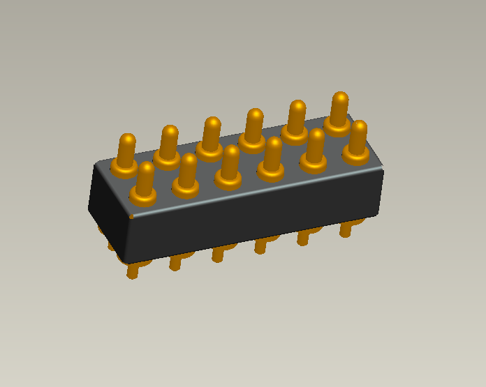 UPE 2.54mm pitch through-hole 12pin spring loaded connector