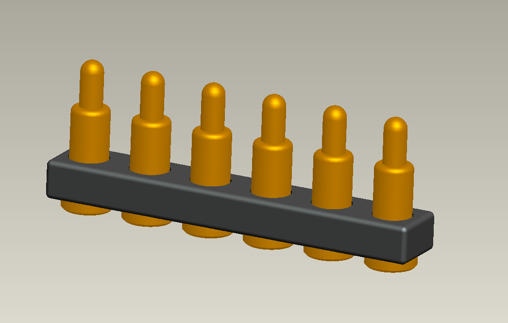 Spring Loaded Header 6Pin 2.54 mm Pitch Surface Mount